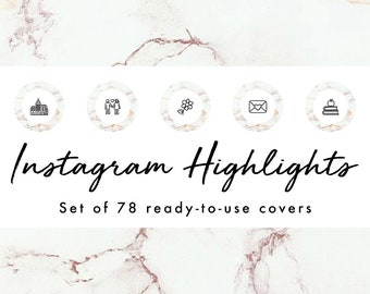 Instagram Story Highlight Icons - 78 Gold Marble Circle Covers | Fashion, Beauty, Lifestyle, Decor, Craft, Handmade, Bloggers, Influencers