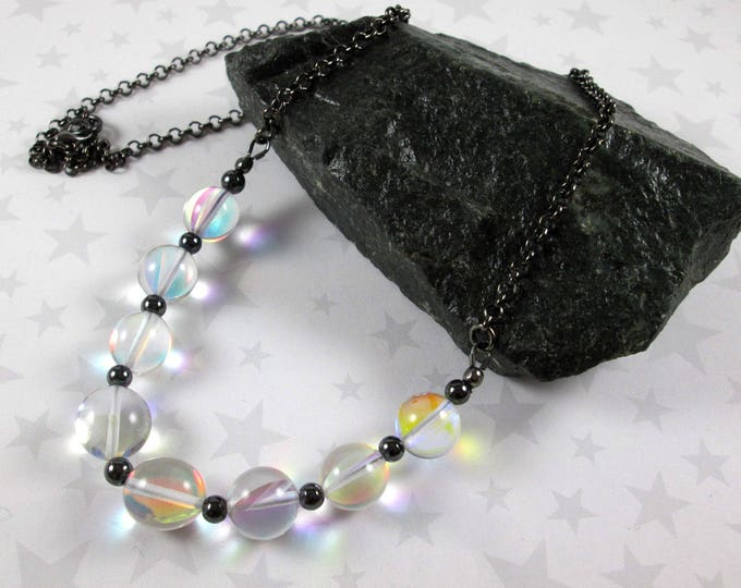 Rainbow Quartz Necklace - Rainbow Quartz, Hematite, Gunmetal