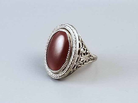 Antique early Art Deco 1920s silver on brass signed Nemco carnelian glass filigree statement ring, size 6