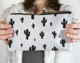 Cactus Pencil Pouch, Black and White Pencil Case, Zipper Pouch, Fabric Pencil Case, Cosmetic Pouch, Makeup Bag, Brush Bag