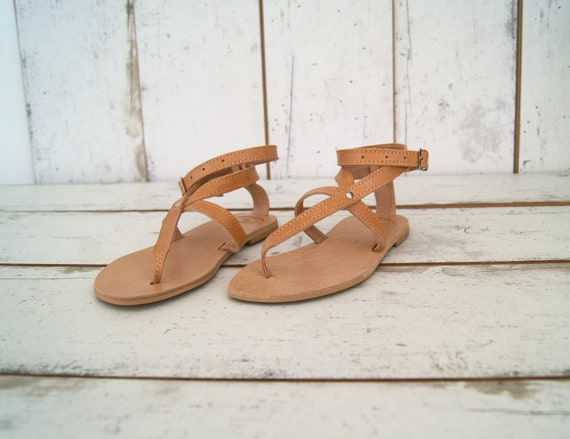 sandals thong ancient leather sandals ankle leather sandals natural sandals cuff grecian sandals AGNETE flats Greek Greek handmade wPqtAnH