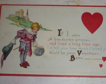 If I Were a Handsome Prince Vintage Valentine Postcard