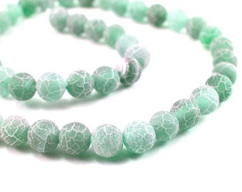 10 x 8mm white Frosted Crackle Agate beads