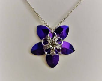 Purple Chainmaille Flower Necklace