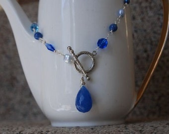 "Blue Necklace Quartz Aventurine Pearl Necklace Sterling Necklace  ""WISTFUL"" Ready to Ship"