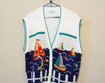 1980's Vintage Nautical Sweater Vest