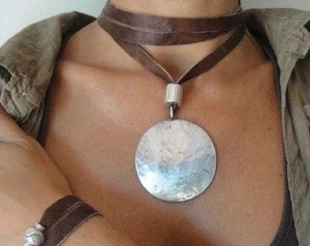 Pendant  LEATHER and WHITE METAL, handmade