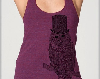 Women's Snow Owl Graphic Tee racerback tank top Owl with Top hat American Apparel ladies summer workout fashion