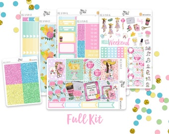 Rise & Plan- A LA CARTE Vertical Weekly Kit planner stickers- Planner Girl, Summer, Party