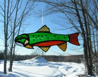 brook trout, stained glass suncatcher
