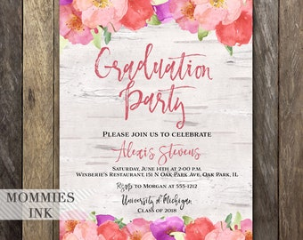 Graduation Party Invitation, Watercolor Flowers Invitation, Birch Invitation, Open House Invite, Modern Typography, Commencement Invite