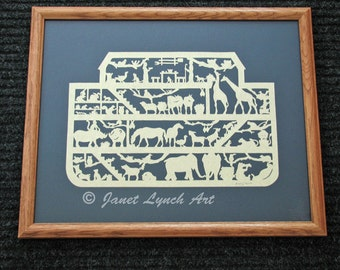 Noah's Ark  - Scherenschnitte - Hand Paper Cutting Art signed and dated By Janet Lynch - 16x20 Framed
