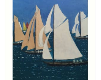 Art Print Taken From The Original Oil Painting 'Les Yacht Classiques II' By Sally Anne Wake Jones