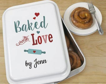 Personalized Baked With Love Cake Pan, kitchenware, personalized cake pan, customized cake pan, aluminium, baked with love -gfyU110339