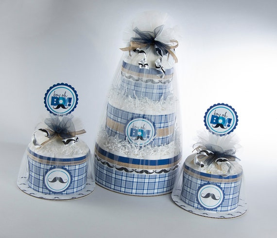 Diaper Cake- Diaper Cakes - Mustache Baby Shower - Mustache Diaper Cake - Baby Shower Decor - Shabby Chic Baby Shower - Diaper Cake Set