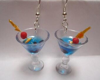 Miniature Blue Martini Earrings w/ Tiny Cherries, Orange and Swizzle Stick