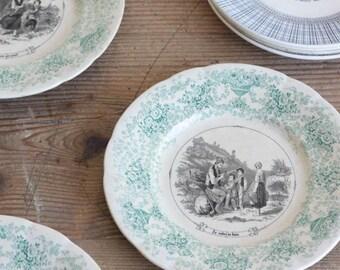 Vintage Pictorial Plate set of 4