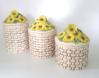 Ceramic  Wicker-look Canister Set with Yellow Flower Lids