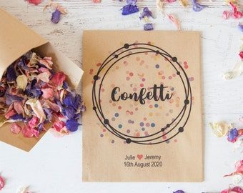 10 Personalised Colourful Confetti Packets
