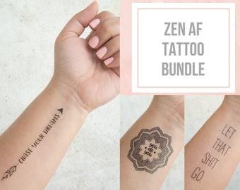 Zen AF Tattoo Bundle - Mandala Tattoo - Temporary Tattoo Quote - Inspirational Temporary Tattoo - Positive Inspiration - Free Spirit Gifts