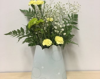 handmade porcelain Oval vase: Dot Dot Circle by Meredith Host in White on celadon, scallop edge, clouds, light blue, polka dots, white dots