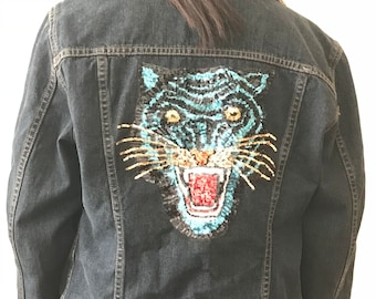 Upcycled CK Denim Jacket with Sequins Tiger Backpatch (M)