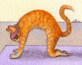 cat 5x7 8x10 11x14 art print ginger yoga cat pose headache reliever stretch back tabby fitness health from Susan Alison watercolor painting