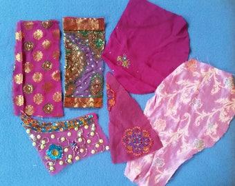 Six Sari Silk Pieces, pink and purple with metallic thread, sequins, rhinestones, handmade in India embellished saree silk scraps