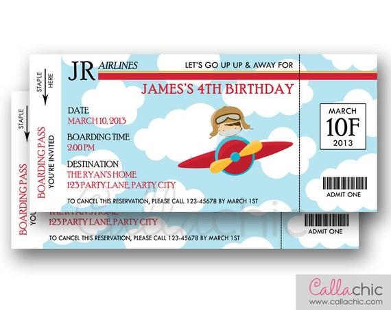Flugzeug Ticket Einladung druckbare Bordkarte Flugzeug