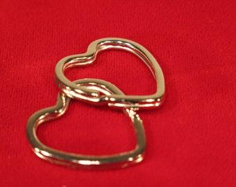 """BULK! 50pc """"Heart"""" split key ring in silver style"""