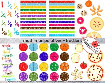 Math Manipulatives Fractions Clipart Set - (300 dpi) School Teacher Clip Art Numbers Math Fraction Bars Circles and Food