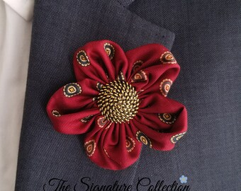 Forget Me Not Fabric Flower Pins - Red Silk - Flower Clip - Repurposed Neckties - Pins and Clips