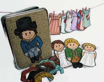 Reading Lover Gift, Pride and Prejudice Magnetic Paper Doll Set, Elizabeth Bennet, Mr. Darcy Jane Austin Magnets, Best Friend Gift