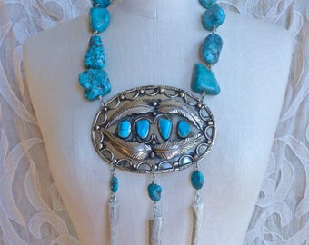 Turquoise and Deer Antler Breastplate Necklace