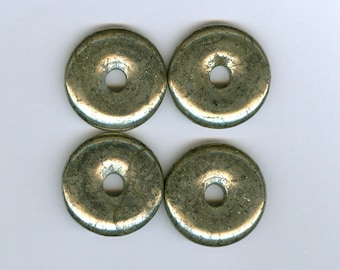 25mm Pyrite Donuts, Set of 4 25mm Gold Pyrite Gemstone PI Donut Focal Pendant