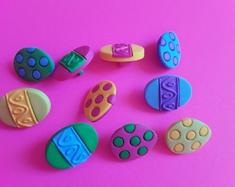 Easter Eggs Button Embellishment, Painted Eggs Collection, 8 Piece Buttons