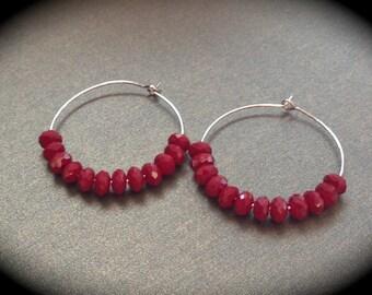 Red coral crystal hoop earrings