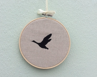 Hoop Art Embroidered Flying duck  wall hanging
