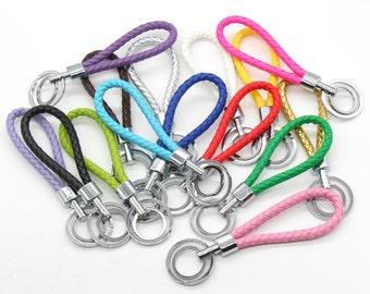 Braided Keychain Colorful Key Chain Pu Leather Key Holder Key Hook Key Fob