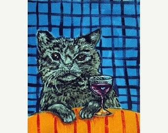25% off cat art - Black Cat at the Wine Bar Animal Art Print, cat gifts, gift