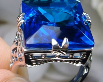 30ct *Swiss Blue Topaz* Solid Sterling Silver Vintage Filigree Ring size (MTO) made to order
