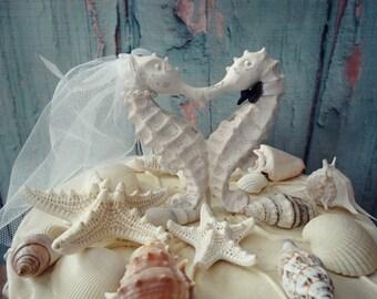 Seahorse Cake Topper-white-ivory-bride groom-Seahorse cake topper-Kissing seahorse wedding cake topper-something blue-Beach wedding