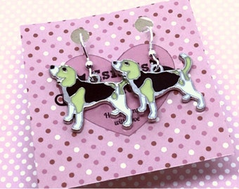 Beagle earrings, Beagle gift, dog lover gift, gift for her, dog earrings, sterling silver wires, uk seller