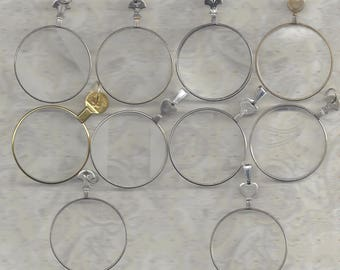 10 Vintage Trial or Optical lenses with Jump RIngs or Bail Hooks