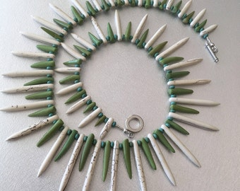 Howlite Dagger Green Bone and Turquoise Necklace