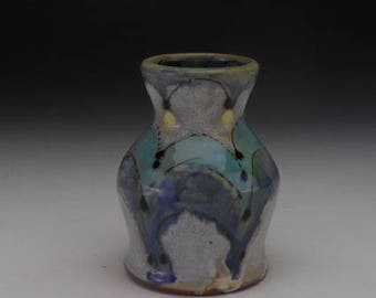 Blue and Yellow Bud Vase / Weed Pot