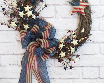 Patriotic Wreath,  4th of July Wreath, Memorial Day Wreath, Patriotic Wreath For Front Door, Patriotic Wreath With Stars, Americana Wreath