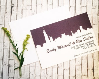 Chicago Wedding Save the Date or Invitation with Chicago Silhouette