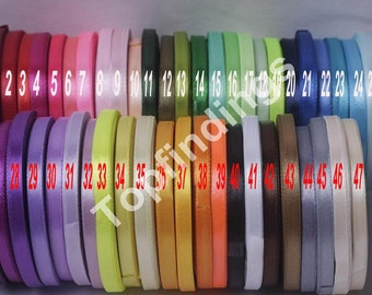 "U Pick!Full 47 colors 1/4"" 6mm Signle Faced Satin Ribbon Solid Color Weddings, crafts, hair bows , Pick your colors MTF05"