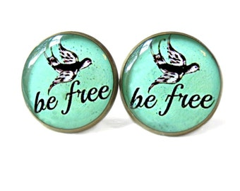 Be FREE Dove Stud Earrings - Mint Green Pop Culture Jewelry - Motivational Inspirational Quotes